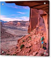 Climbers Getting Ready For Rock Acrylic Print