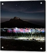 Climbers Trace Ghostly Shapes Acrylic Print