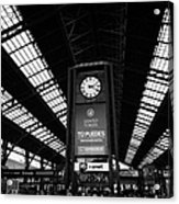 clock in Santiago central railway station Chile Acrylic Print