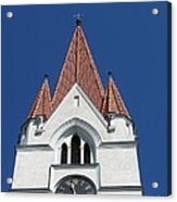 Clock Tower. Evangelic Lutheran Church. Silute. Lithuania. Acrylic Print