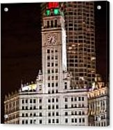 Clock Tower In Chicago  Acrylic Print