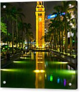 Clock Tower Of Old Kowloon Station Acrylic Print by Hisao Mogi