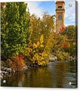 Clocktower In Fall Acrylic Print