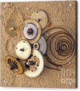 Clockwork Mechanism On The Sand Acrylic Print