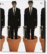Clones Of Man In Business Suit Standing Acrylic Print by Darren Greenwood