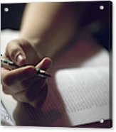 Close-up Of A Hand Holding A Pen Acrylic Print