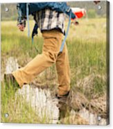 Close-up Of A Male Hiker Acrylic Print