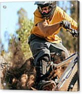 Close Up Of A Mountain Biker Ripping Acrylic Print