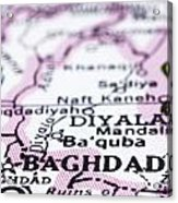close up of Baghdad on map-Iraq Acrylic Print