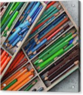Close-up Of Color Pencils, Ishoj Acrylic Print
