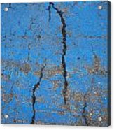 Close Up Of Cracks On A Blue Painted Acrylic Print