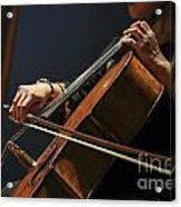 Close Up Of The Cellist's Hands Acrylic Print