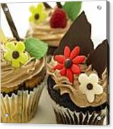 Close-up Of Three Chocolate Cupcakes Acrylic Print