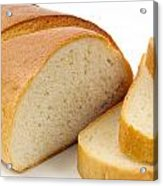 Close-up Of White Bread With Slices Acrylic Print