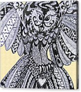 Close Up Owl Cream Acrylic Print