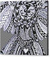 Close Up Owl Grey Acrylic Print
