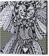 Close Up Owl Tartan Acrylic Print