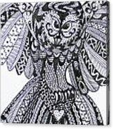 Close Up Owl White Acrylic Print