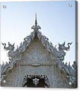 Closeup Of Gable Decoration Inin Wat Rong Khun In Chiang Rai Thailand  Acrylic Print