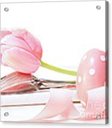 Closeup Of Tulip And Utensils On Pale Pink Acrylic Print