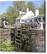 Closing A Lock On The C And O Canal At Great Falls Tavern Acrylic Print