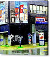 Closing Time Montreal Factory Glatts Produits Quebec Meats Graffiti Art City Scenes Carole Spandau Acrylic Print