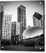 Cloud Gate Bean Chicago Skyline In Black And White Acrylic Print by Paul Velgos