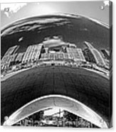 Cloud Gate Under The Bean Black And White Acrylic Print