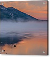 Cloud Reflection And Fog On Lake Tahoe Acrylic Print