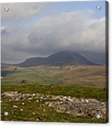 Cloud Streaming Across The Summit Of Pen-y-ghent Ribblesdale North Yorkshire England Acrylic Print