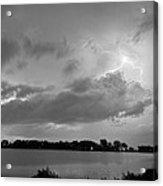 Cloud To Cloud Lake Lightning Strike In Bw Acrylic Print