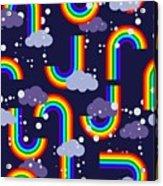 Clouds And Rainbow Cartoon Wallpaper Acrylic Print
