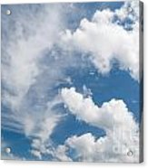 White Cirrus And Cumulus Clouds Formation Mix Acrylic Print