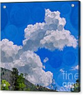 Clouds Loving A Friendly Mountain Landscape Painting Acrylic Print