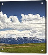 Clouds Over A Mountain Range In Montana Acrylic Print
