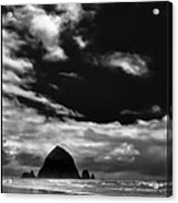 Clouds Over Haystack Rock On Cannon Beach Acrylic Print by David Patterson