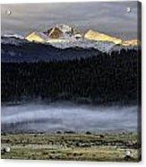 Clouds Over Longs Peak Acrylic Print by Tom Wilbert