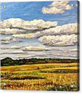 Clouds Over Marsh In Wells Maine Acrylic Print