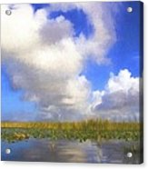 Clouds Over The Grasses Acrylic Print