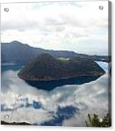 Clouds Reflected In Lake Cuicocha Acrylic Print