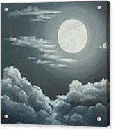 Clouds Under A Full Moon Acrylic Print