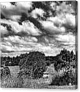 Cloudy Countryside Collage - Black And White Acrylic Print
