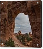 Cloudy Day At Pine Tree Arch Acrylic Print