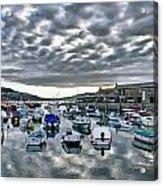 Cloudy Morning - Lyme Regis Harbour Acrylic Print