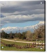 Cloudy Sky With A Log Fence Acrylic Print by Robert D  Brozek