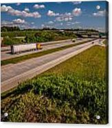 Clover Leaf Exit Ramps On Highway Near City Acrylic Print