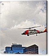 Coast Guard Chopper Over Boston Acrylic Print