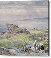 Coast Scene With Children In The Foreground, 19th Century Acrylic Print