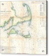 Coast Survey Map Of Cape Cod Nantucket And Marthas Vineyard Acrylic Print