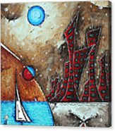 Coastal Abstract Cityscape Art Original City Painting Morning Retreat By Madart Acrylic Print